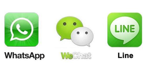 中日美大PK:Line、WhatsApp、WeChat谁更厉害?