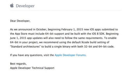 苹果对开发者再发警告:明年中需全面支持64位