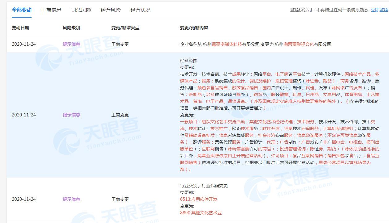 """淘票票关联公司更名为""""杭州淘票票影视文化有限公司""""_零售_电商之家"""